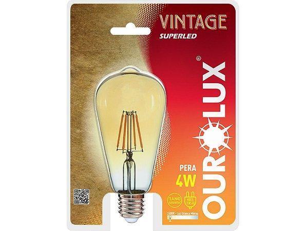 Lâmpada ST64 Vintage LED Ourolux 2400K (Luz Quente)