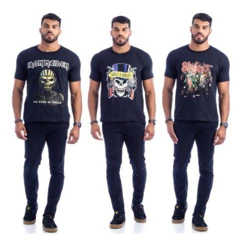 Camisetas Banda de Rock Estampada (Kit com 10 Unidades)