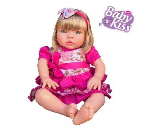 Boneca Bebe Baby Kiss Estilo Reborn Loira