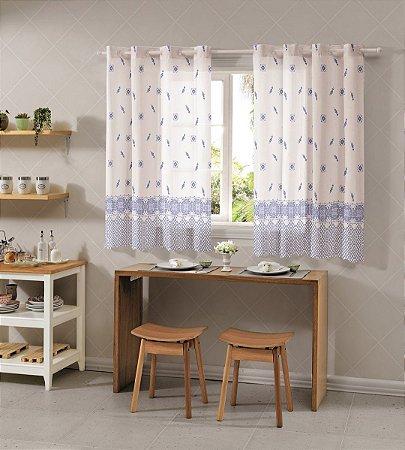 Cortina para Cozinha Allegra 2,60x1,20 Porcelana Azul - Bella Janela