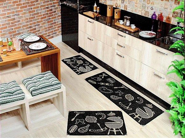 Jogo de tapete cozinha 3 peças Sizal com cantoneiras - Churrasco