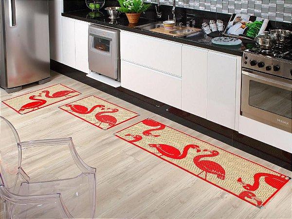 Jogo de tapete cozinha 3 peças Sizal com cantoneiras Flamingo