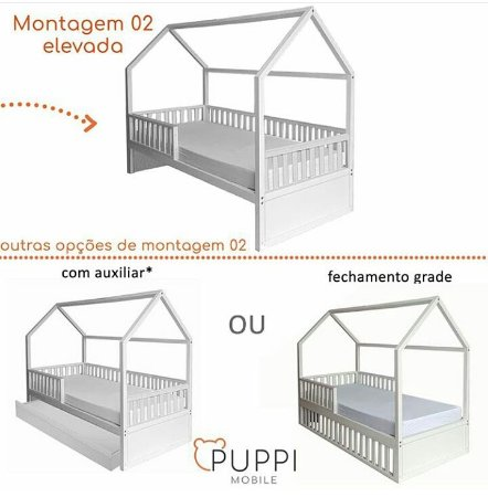 Cama Montessori Solteiro BRANCA 4 em 1 SEM Auxiliar - Puppi