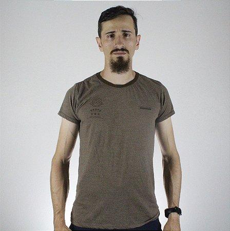 Camiseta Slim Fortù Coordenadas Marrom