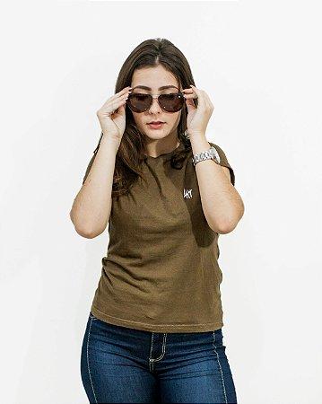 Camiseta Slim Feminina Marrom