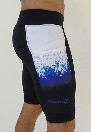 bermuda de compressão unissex 3 bolsos blue