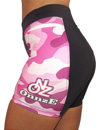short compressão camouflaged pink 3 bolsos
