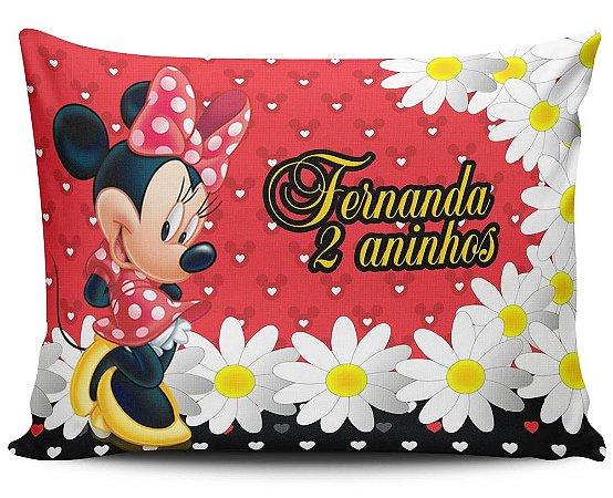 Almofada 20x32cm Personalizada Minnie Vermelha - Enchimento Anti Alérgico