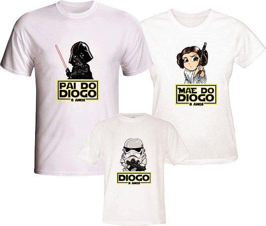 Kit 3 Camisetas Personalizadas com Nome e Tema - Star Wars
