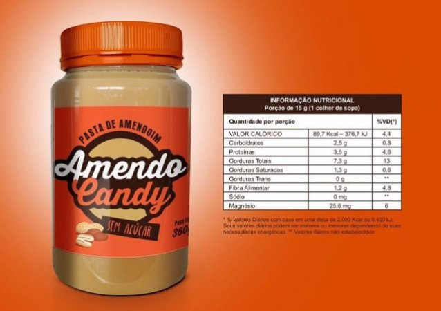 Pasta de Amendoim Integral s/ açucar 360g Amendo Candy
