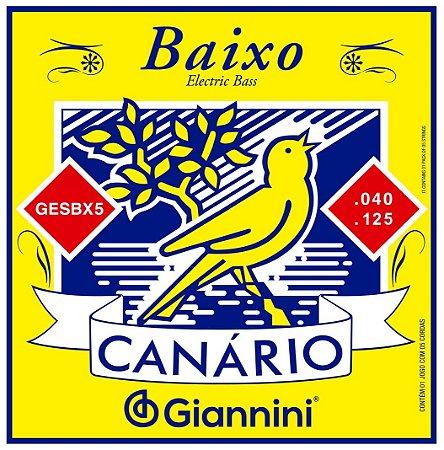Encordoamento Cordas para Baixo 5 cordas Giannini Canário