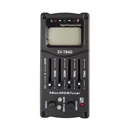 Captador e Equalizador 4 Bandas Para Violão Nylon ou Aço - SVT840