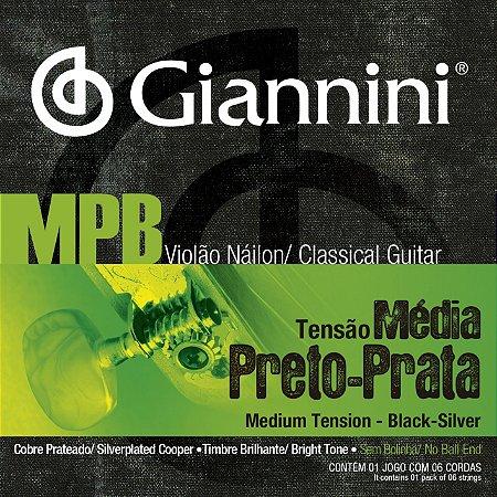 ENCORDOAMENTO VIOLÃO NAILON MPB PRETO/PRATA