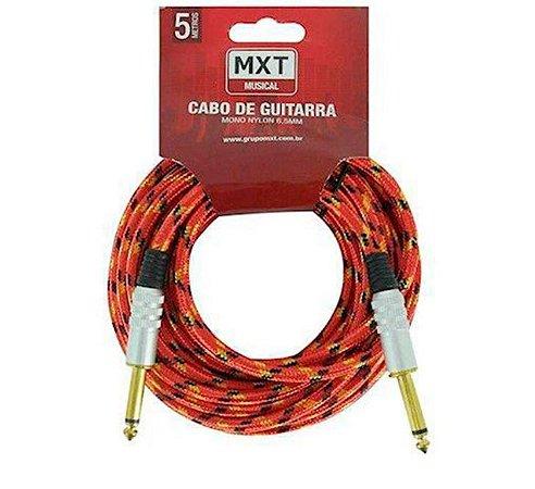 Cabo de Guitarra Mono Nylon 6,5mm Vermelho