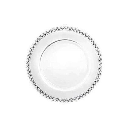 Prato de Sobremesa de Cristal Coração Transparente 20cm - Lyor