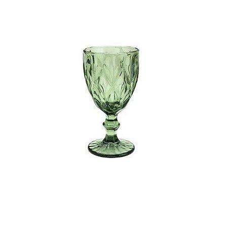 Taça para Agua de Vidro Diamond Verde 325 ml- Lyor