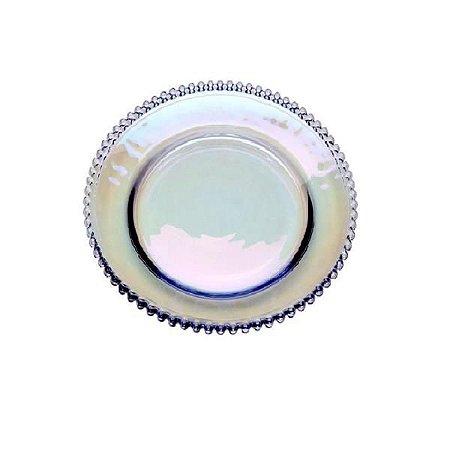 Sousplat de Cristal Bolinha Pearl Furtacor 32x3cm - Wolff