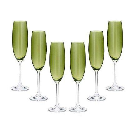 Conjunto com 6 Taças para Champanhe em Cristal Ecológico Greenery 220ml
