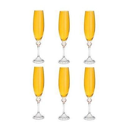 Conjunto com 6 Taças para Champanhe em Cristal Elisa Topázio 220ml