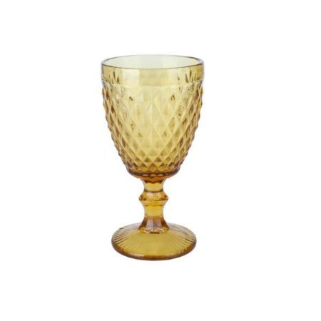 Taça para Água Bico de Abacaxi Âmbar Vitral  Verre