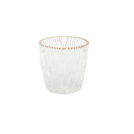 Castiçal de Vidro Copper Colar Curves Transparente Borda Rosé