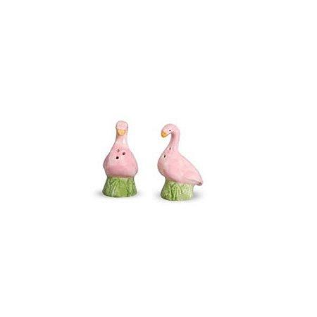 Saleiro e Pimenteiro em Cerâmica de Flamingo