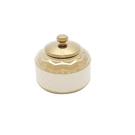 Pote Decorativo em Cerâmica Branco com Dourado 14x13cm