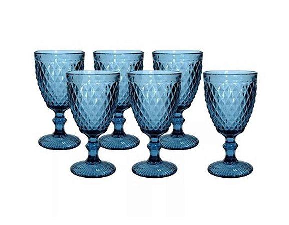 Jogo com 6 Taças Bico de Abacaxi Azul 300ml
