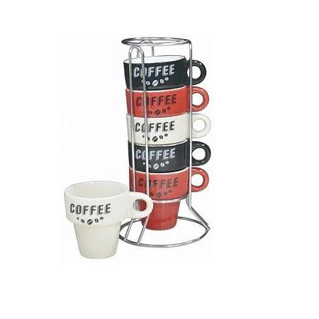 Jogo de Xícaras de Café Coffee 7 Peças