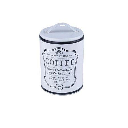 Lata de Metal Round Frame Coffee Branca