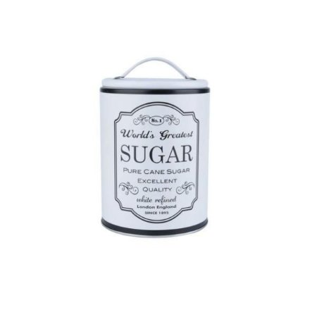 Lata de Metal Round Frame Sugar Branca