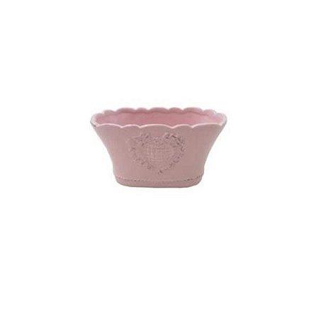 Vaso de Cerâmica Glazed Heart Oval Rosa