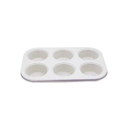 Forma Para 6 Cupcakes Bicolor Bege com Fundo Vermelho