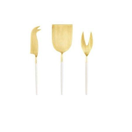 Conjunto com 3 Peças para Queijo Tokyo Dourado Off White