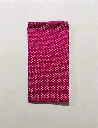 Guardanapo de Algodão Poa Rosa Pink com Bolinhas Brancas