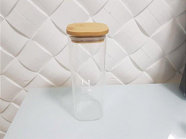 Pote Hermético de Vidro e Bambu Quadrado 400ML