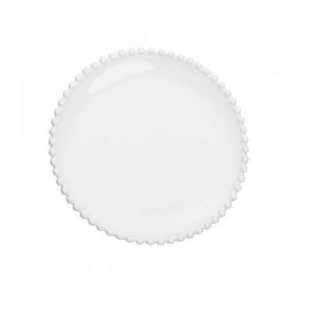Prato raso porcelana pearl branco 28cm