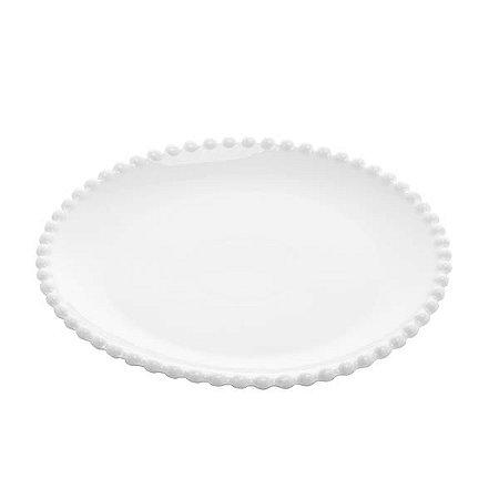 Prato de Sobremesa porcelana Pearl Branco 20cm