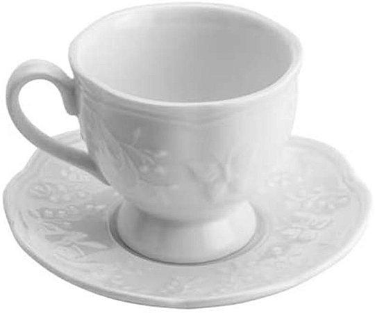 Xícara café com pires de porcelana new bone butterfly flower 100ml - Lyor