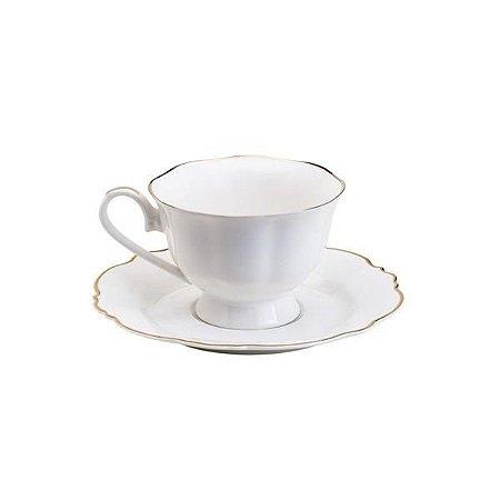 Xícara para chá maldivas branca com fio dourado 180 ml