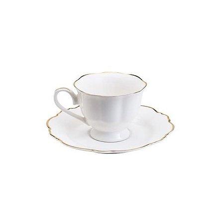 Xícara de Café Maldivas com Fio Dourado 80ml