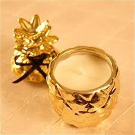 Vela em pote abacaxi dourado com aroma baunilha - Cromus