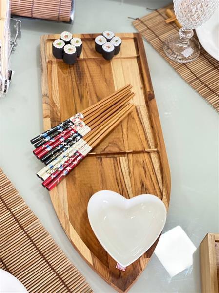 Tábua Barca para Sushi Madeira Teca 20x2x50