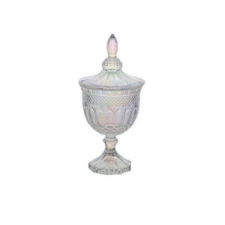 Potiche Pequeno de Cristal com Pé Brandon Rainbow 11,5x24,5cm - Lyor