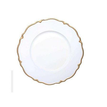 Sousplat Branco com Dourado- Rafimex