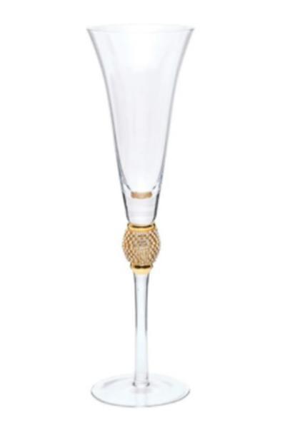 Taça para Champagne Flute com Strass Ouro - Cromus