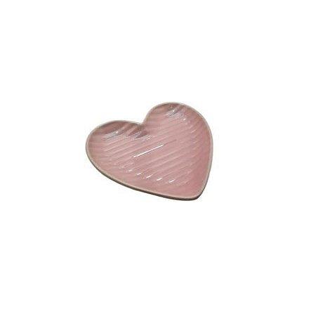 Prato Pequeno de Coração Canelado Rosa 13cm - Home Design