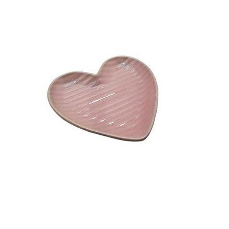 Prato Médio de Coração Canelado Rosa 19,5cm - Home Design