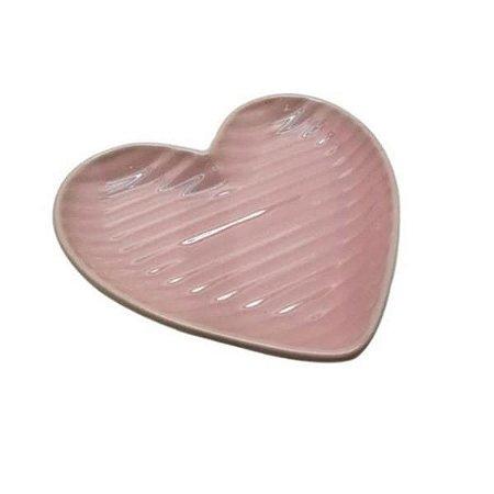 Prato Grande de Coração Canelado Rosa 25cm - Home Design