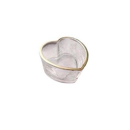 Mini Enfeite Coração de Vidro com Borda Dourada - Home Design